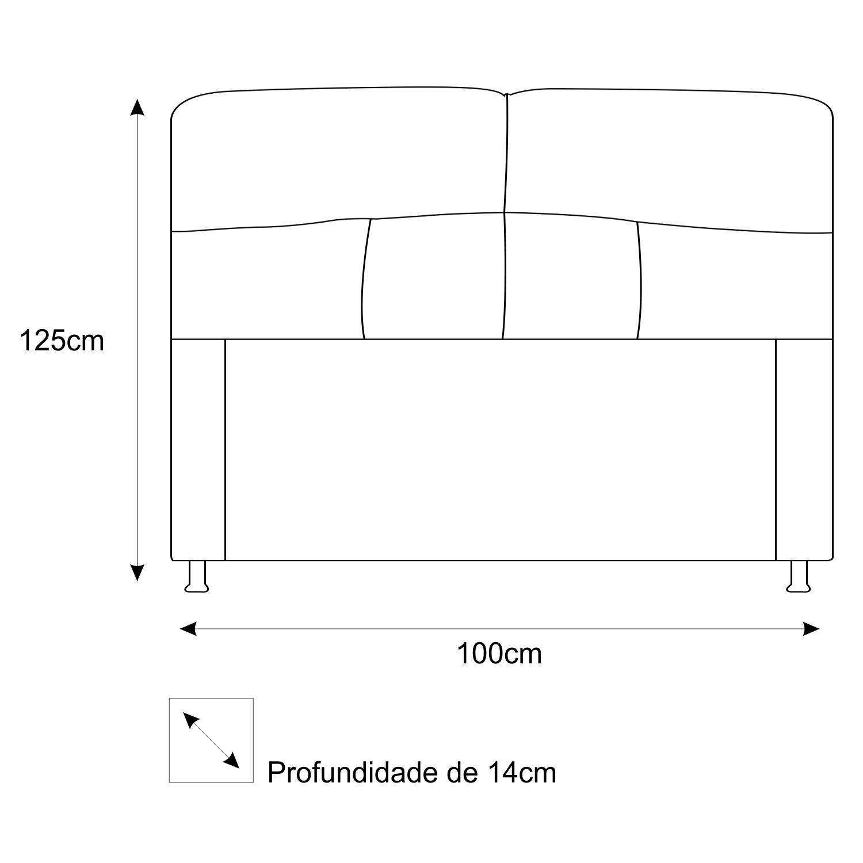 Cabeceira Estofada Donna 100 cm Solteiro Suede Preto - Doce Sonho Móveis
