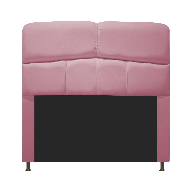 Cabeceira Estofada Donna 100 cm Solteiro Suede Rosa Bebê - Doce Sonho Móveis