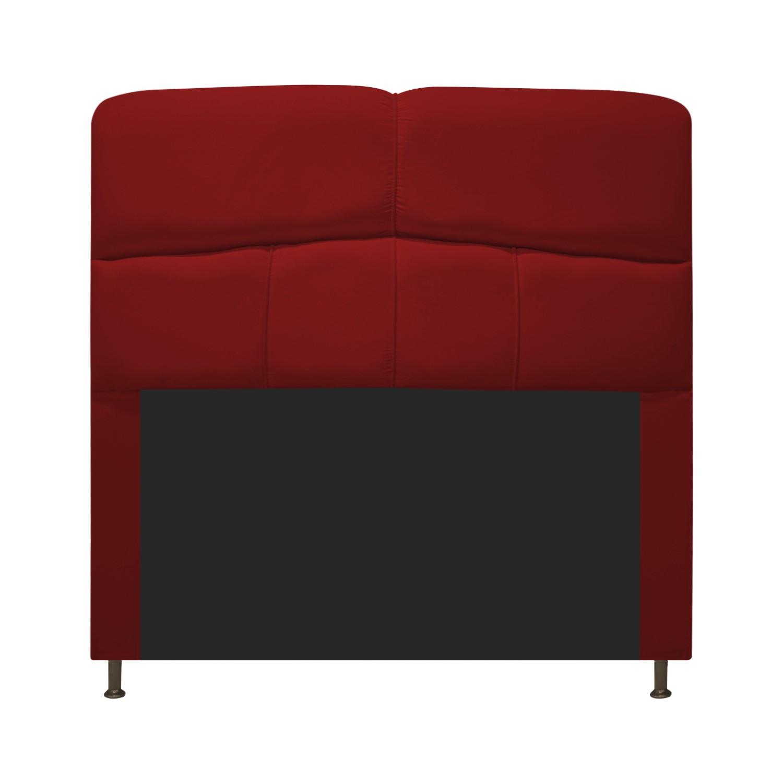 Cabeceira Estofada Donna 100 cm Solteiro Suede Vermelho - Doce Sonho Móveis