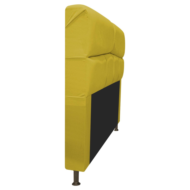 Cabeceira Estofada Donna 140 cm Casal  Suede Amarelo - Doce Sonho Móveis