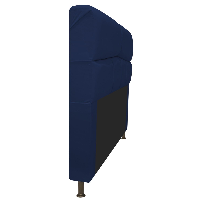Cabeceira Estofada Donna 140 cm Casal  Suede Azul Marinho - Doce Sonho Móveis