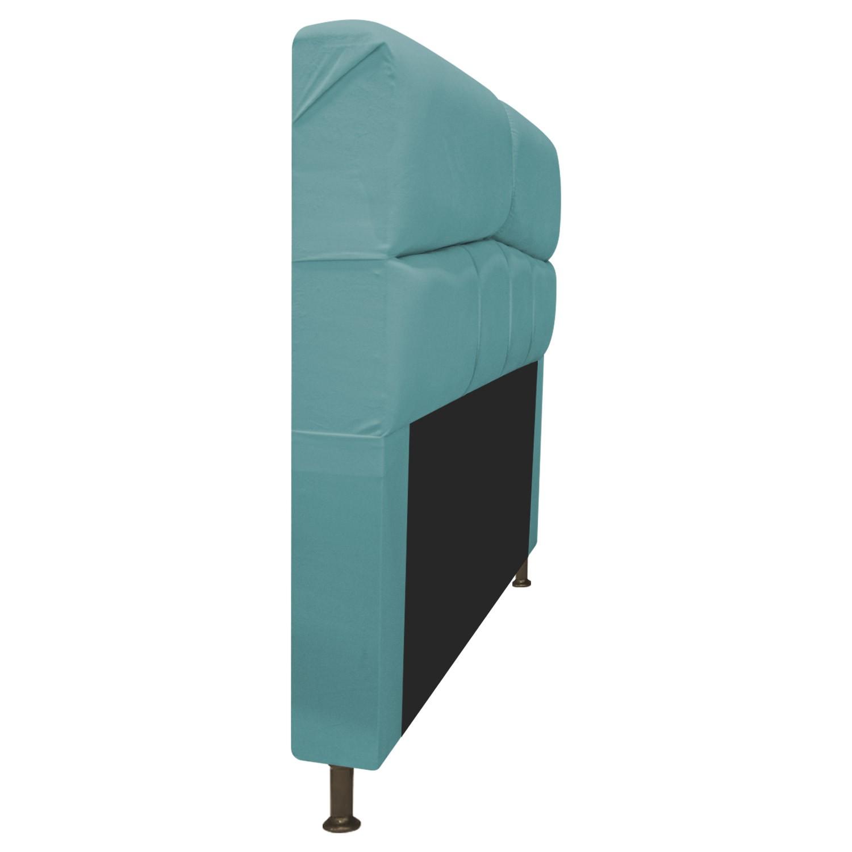 Cabeceira Estofada Donna 140 cm Casal  Suede Azul Turquesa - Doce Sonho Móveis