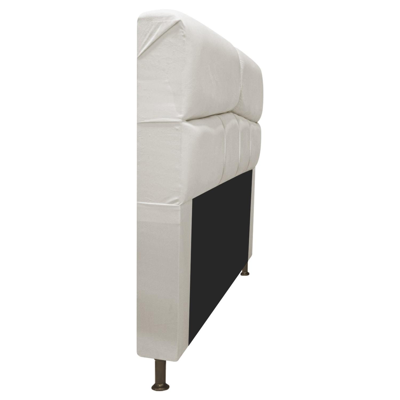Cabeceira Estofada Donna 140 cm Casal  Suede Bege - Doce Sonho Móveis