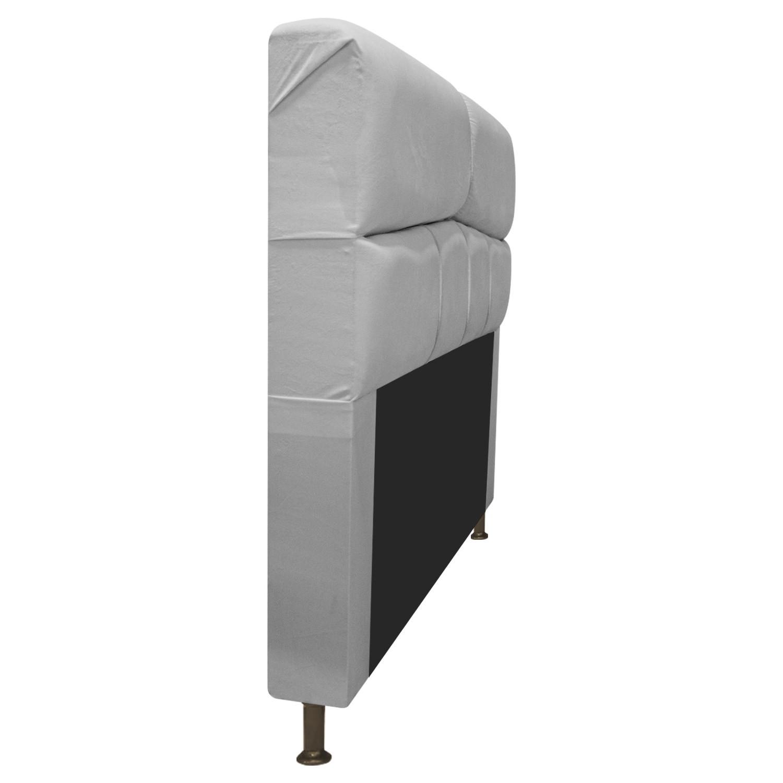 Cabeceira Estofada Donna 140 cm Casal  Suede Cinza - Doce Sonho Móveis