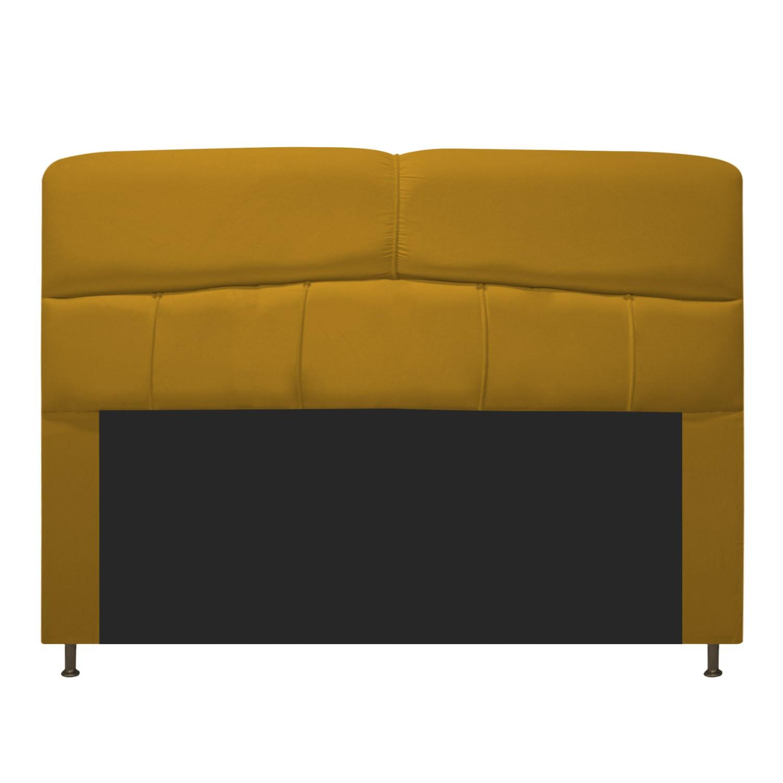Cabeceira Estofada Donna 140 cm Casal  Suede Mostarda - Doce Sonho Móveis