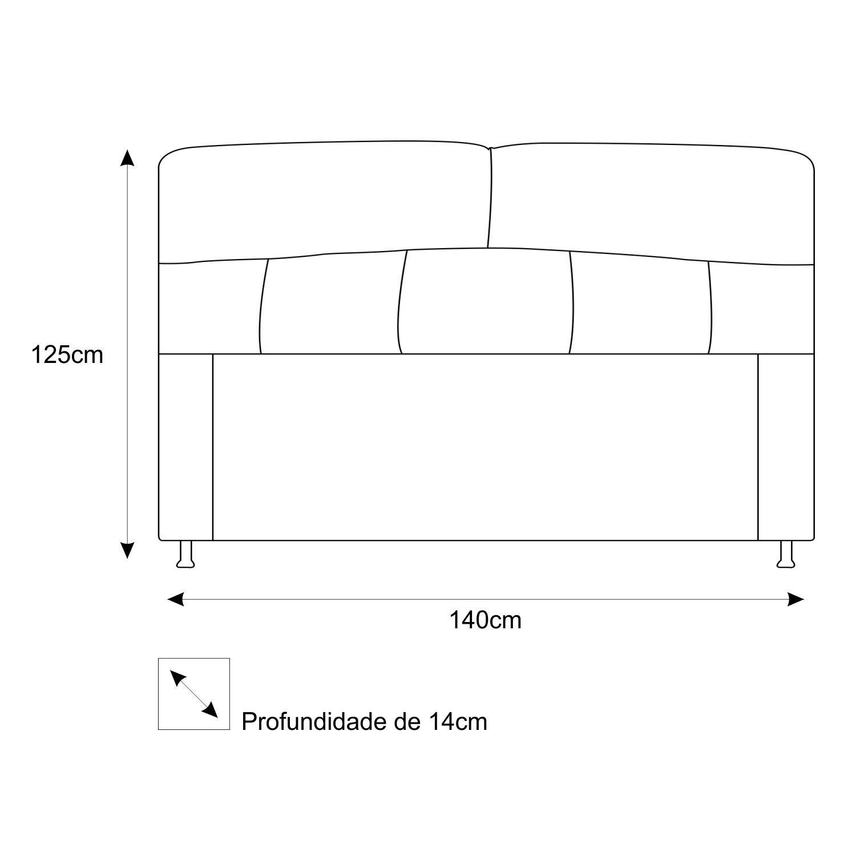 Cabeceira Estofada Donna 140 cm Casal  Suede Preto - Doce Sonho Móveis