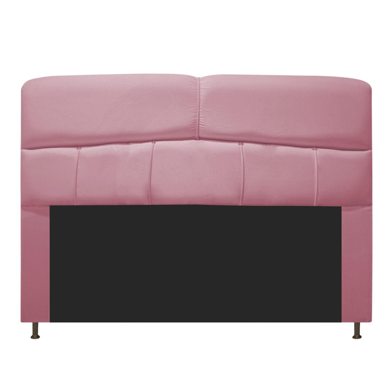 Cabeceira Estofada Donna 140 cm Casal  Suede Rosa Bebê - Doce Sonho Móveis