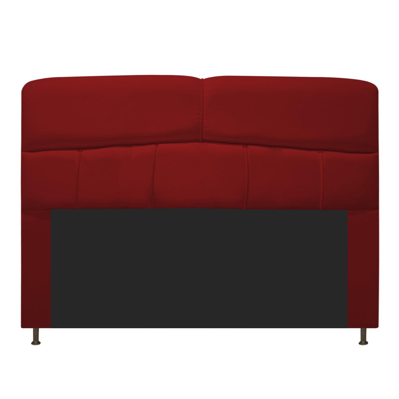 Cabeceira Estofada Donna 140 cm Casal  Suede Vermelho - Doce Sonho Móveis