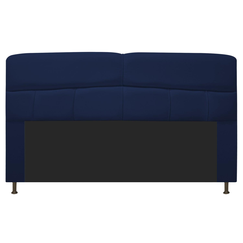 Cabeceira Estofada Donna 195 cm King Size Suede Azul Marinho - Doce Sonho Móveis