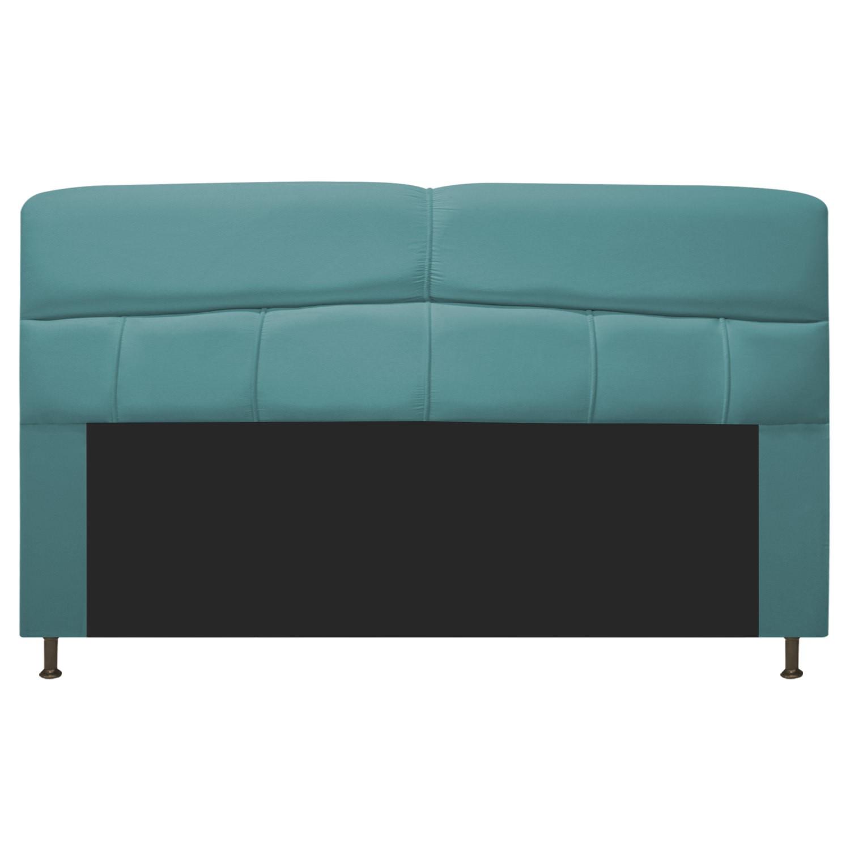 Cabeceira Estofada Donna 195 cm King Size Suede Azul Turquesa - Doce Sonho Móveis