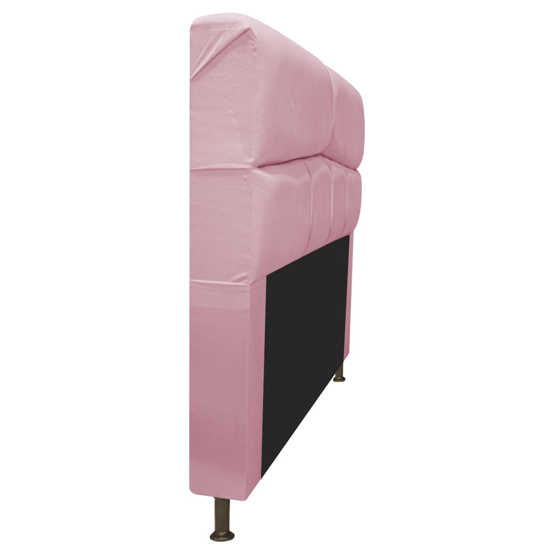 Cabeceira Estofada Donna 195 cm King Size Suede Rosa Bebê - Doce Sonho Móveis