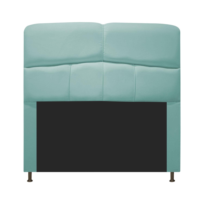 Cabeceira Estofada Donna 90 cm Solteiro  Suede Azul Tiffany - Doce Sonho Móveis