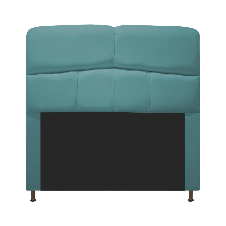 Cabeceira Estofada Donna 90 cm Solteiro  Suede Azul Turquesa - Doce Sonho Móveis