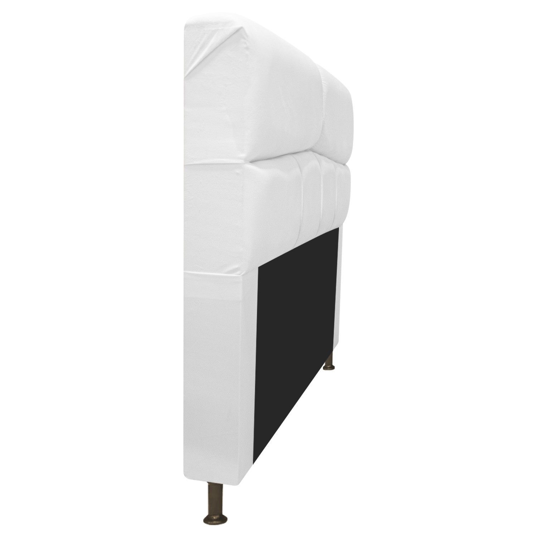 Cabeceira Estofada Donna 90 cm Solteiro  Suede Branco - Doce Sonho Móveis