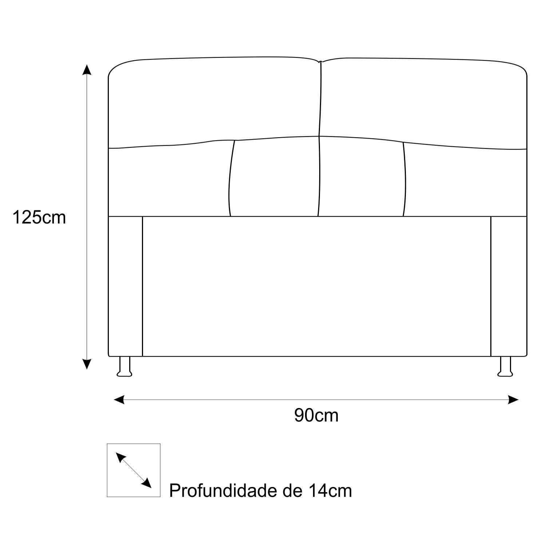 Cabeceira Estofada Donna 90 cm Solteiro  Suede Cinza - Doce Sonho Móveis