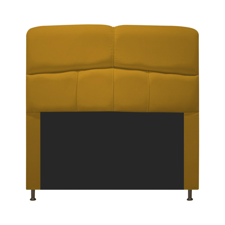 Cabeceira Estofada Donna 90 cm Solteiro  Suede Mostarda - Doce Sonho Móveis
