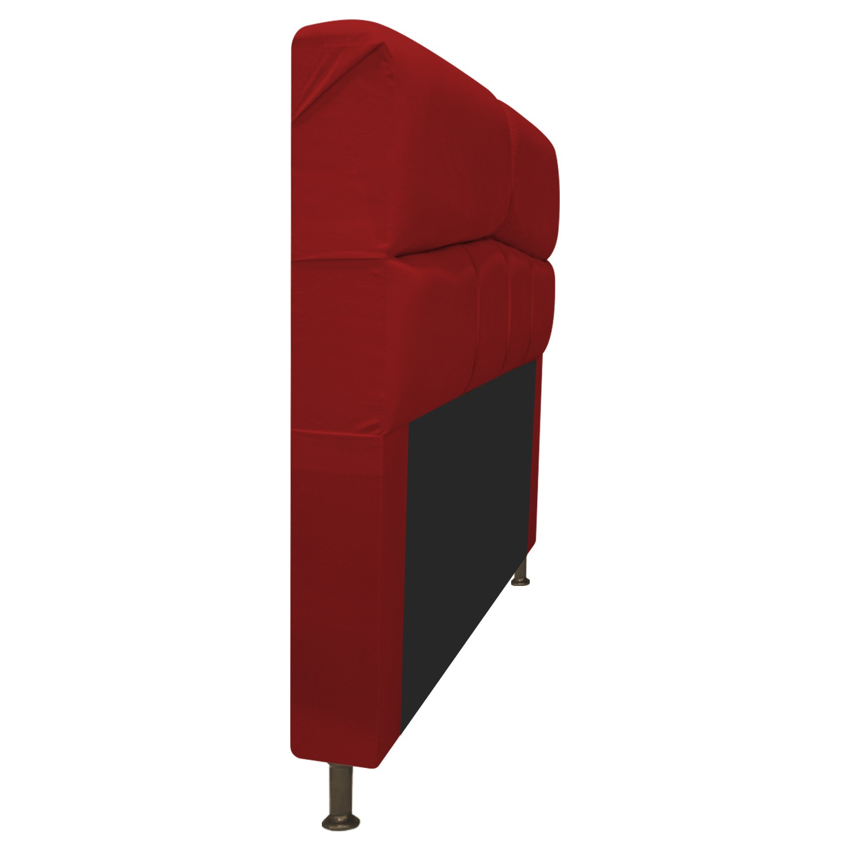 Cabeceira Estofada Donna 90 cm Solteiro  Suede Vermelho - Doce Sonho Móveis