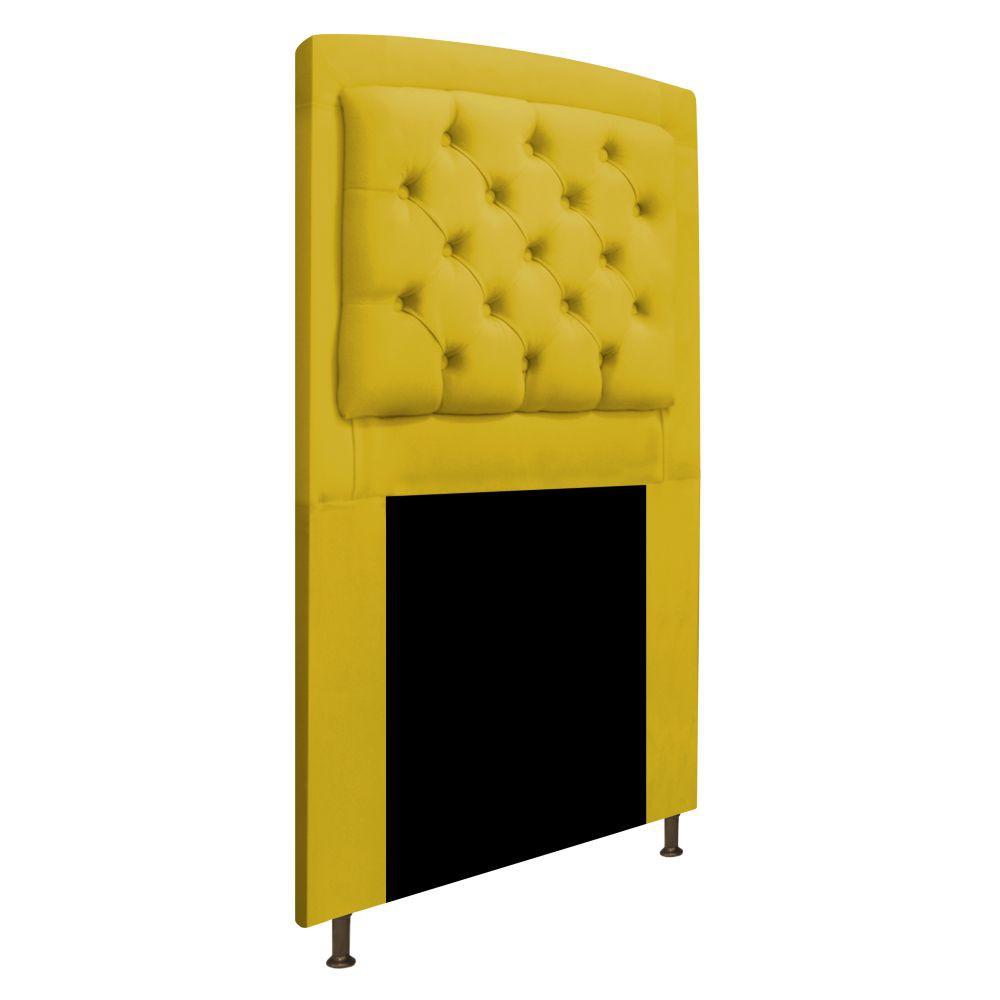 Cabeceira Estofada Geovana 100 cm Solteiro Com Capitonê Suede Amarelo - Doce Sonho Móveis