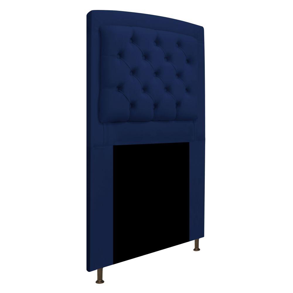 Cabeceira Estofada Geovana 100 cm Solteiro Com Capitonê Suede Azul Marinho - Doce Sonho Móveis