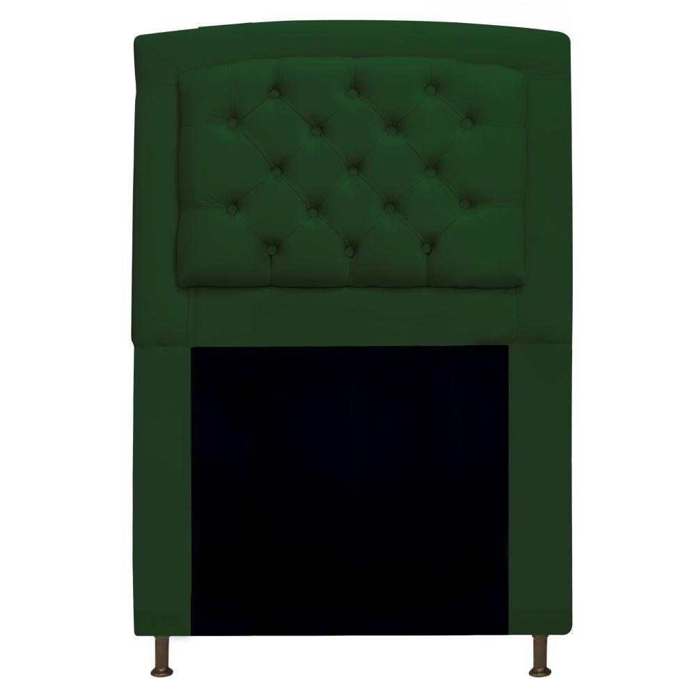 Cabeceira Estofada Geovana 100 cm Solteiro Com Capitonê Suede Verde - Doce Sonho Móveis