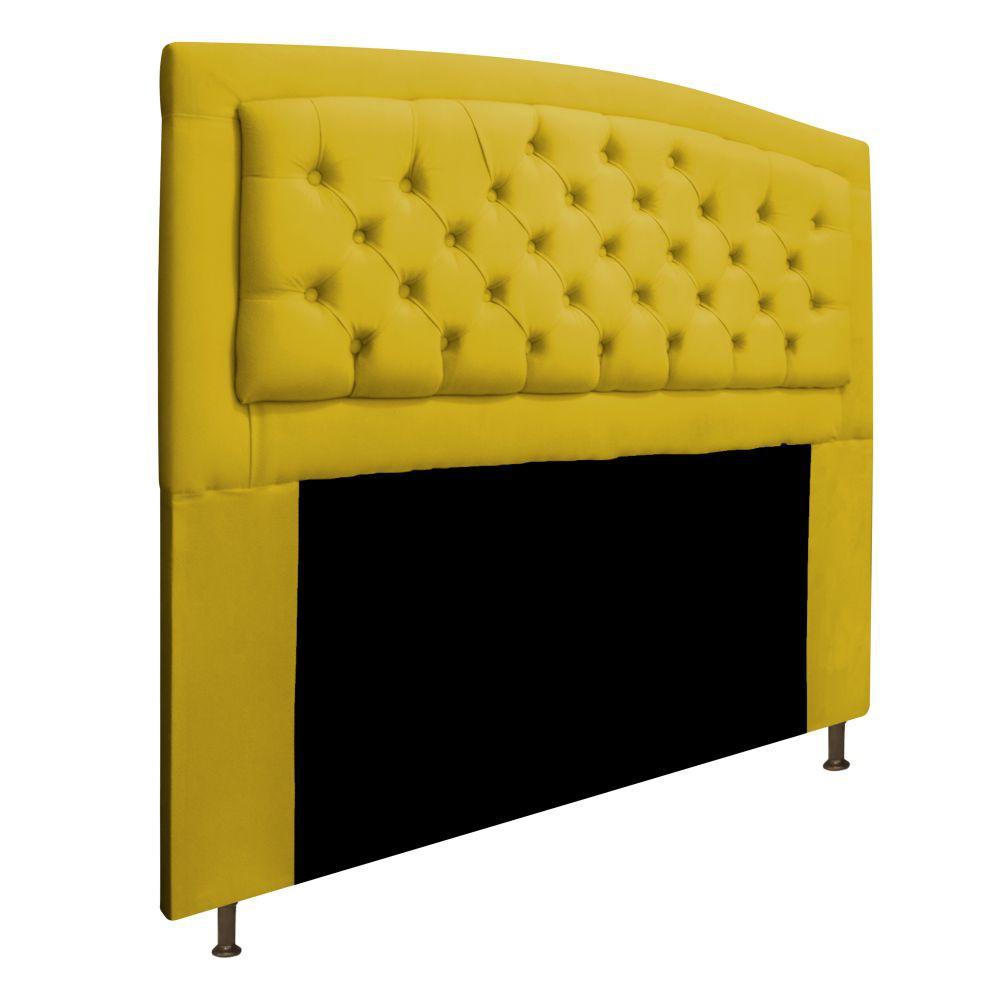 Cabeceira Estofada Geovana 140 cm Casal Com Capitonê  Suede Amarelo - Doce Sonho Móveis