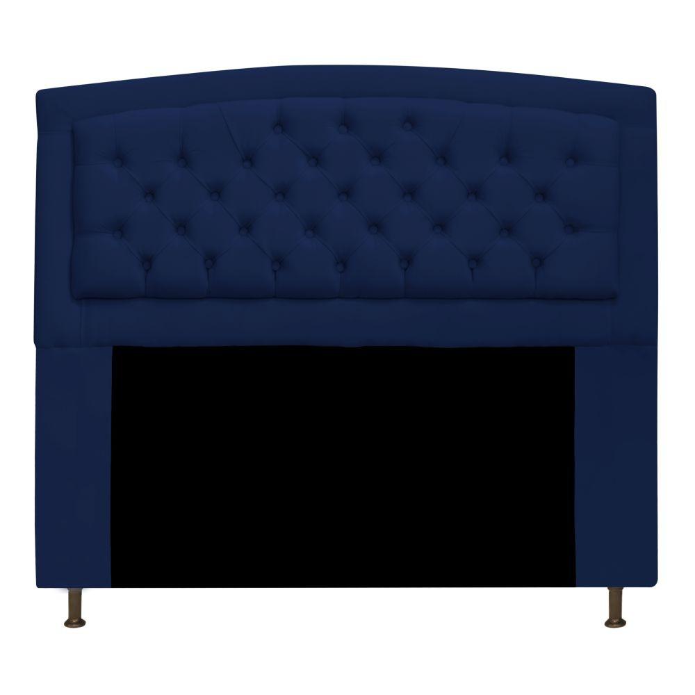 Cabeceira Estofada Geovana 140 cm Casal Com Capitonê  Suede Azul Marinho - Doce Sonho Móveis