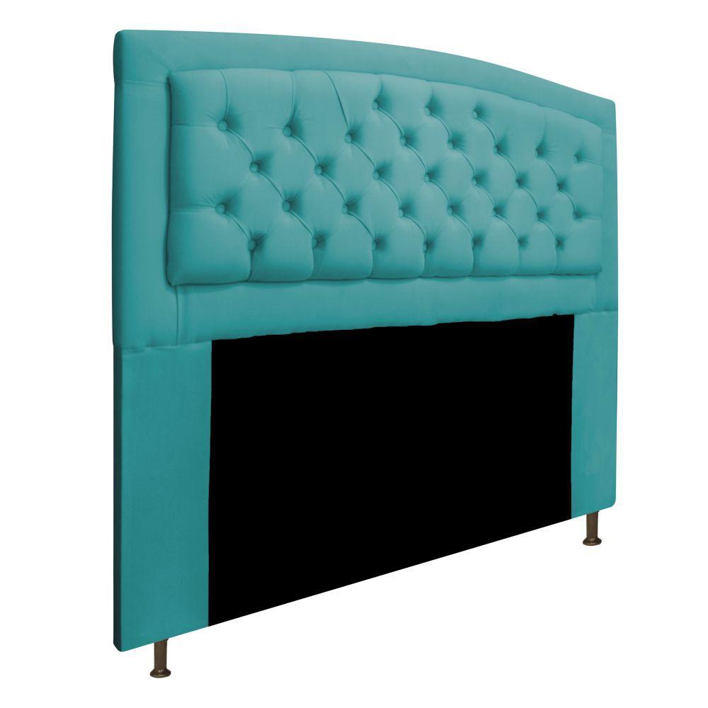 Cabeceira Estofada Geovana 140 cm Casal Com Capitonê  Suede Azul Turquesa - Doce Sonho Móveis