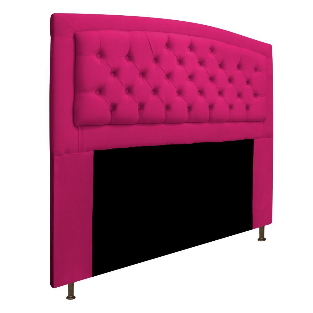Cabeceira Estofada Geovana 140 cm Casal Com Capitonê  Suede Pink - Doce Sonho Móveis