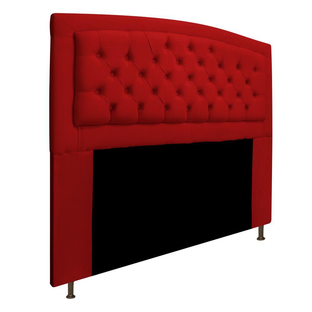 Cabeceira Estofada Geovana 140 cm Casal Com Capitonê  Suede Vermelho - Doce Sonho Móveis