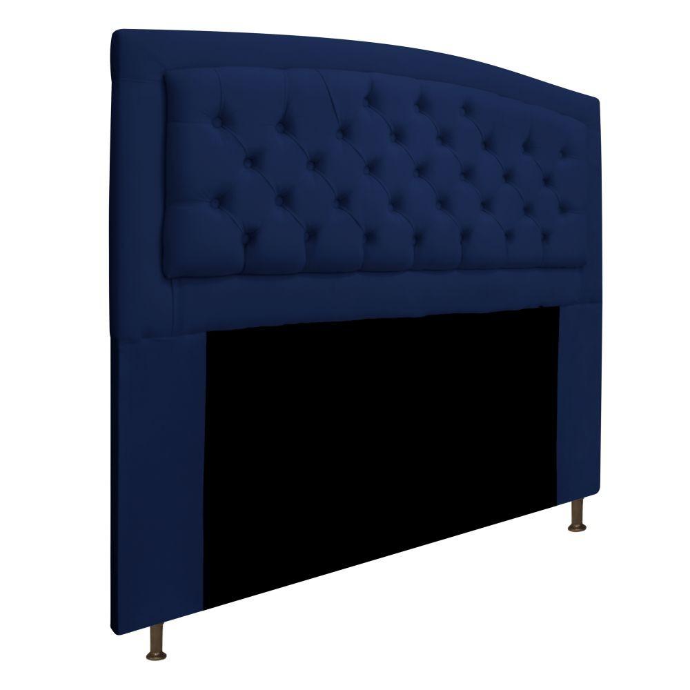 Cabeceira Estofada Geovana 160 cm Queen Size Com Capitonê Suede Azul Marinho - Doce Sonho Móveis