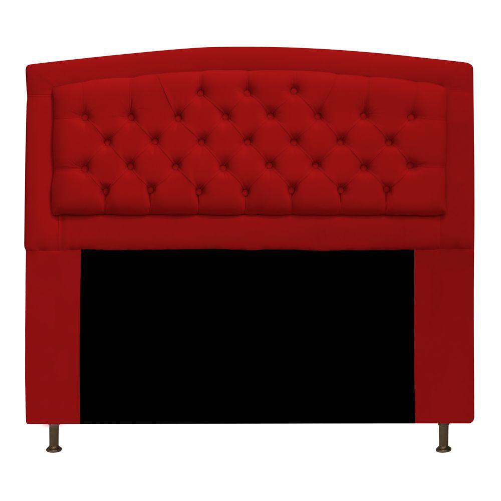 Cabeceira Estofada Geovana 160 cm Queen Size Com Capitonê Suede Vermelho - Doce Sonho Móveis