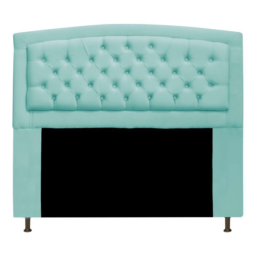 Cabeceira Estofada Geovana 195 cm King Size Com Capitonê Suede Azul Tiffany - Doce Sonho Móveis