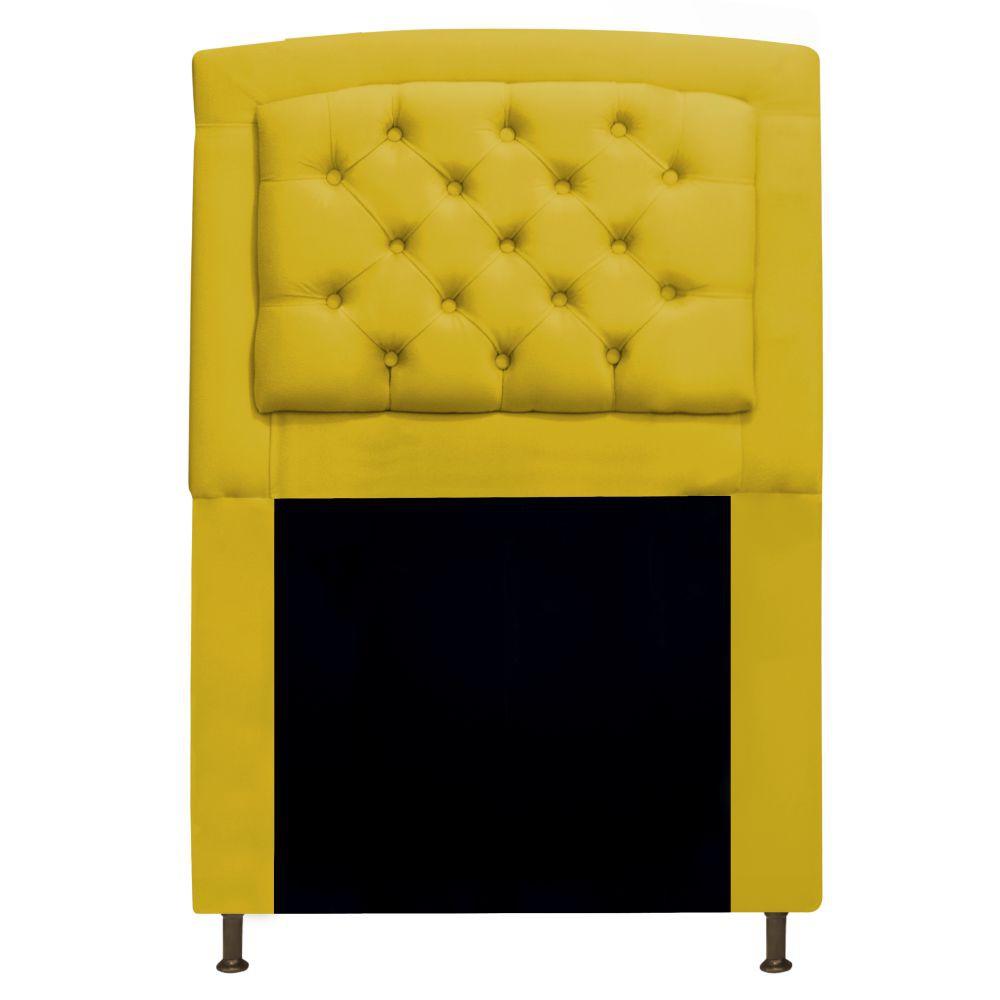 Cabeceira Estofada Geovana 90 cm Solteiro Com Capitonê  Suede Amarelo - Doce Sonho Móveis
