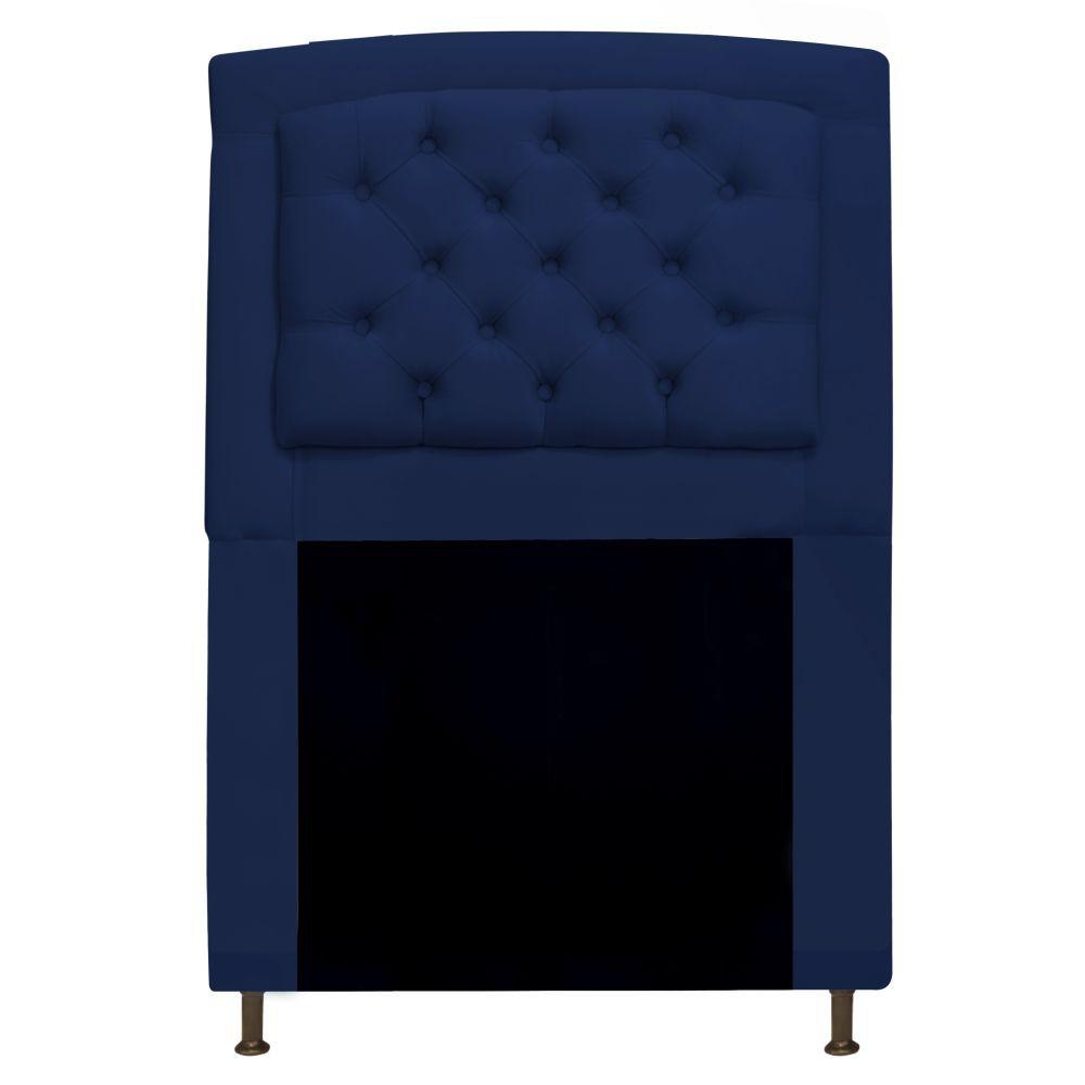 Cabeceira Estofada Geovana 90 cm Solteiro Com Capitonê  Suede Azul Marinho - Doce Sonho Móveis