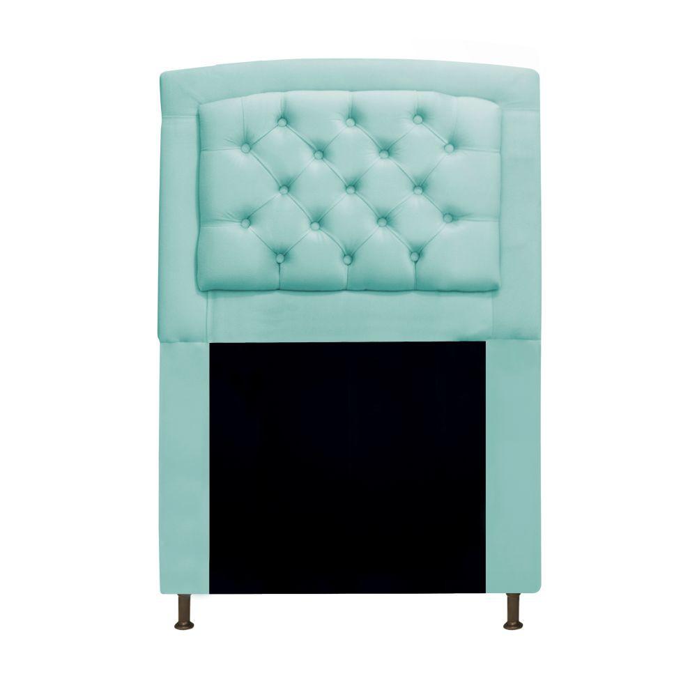 Cabeceira Estofada Geovana 90 cm Solteiro Com Capitonê  Suede Azul Tiffany - Doce Sonho Móveis