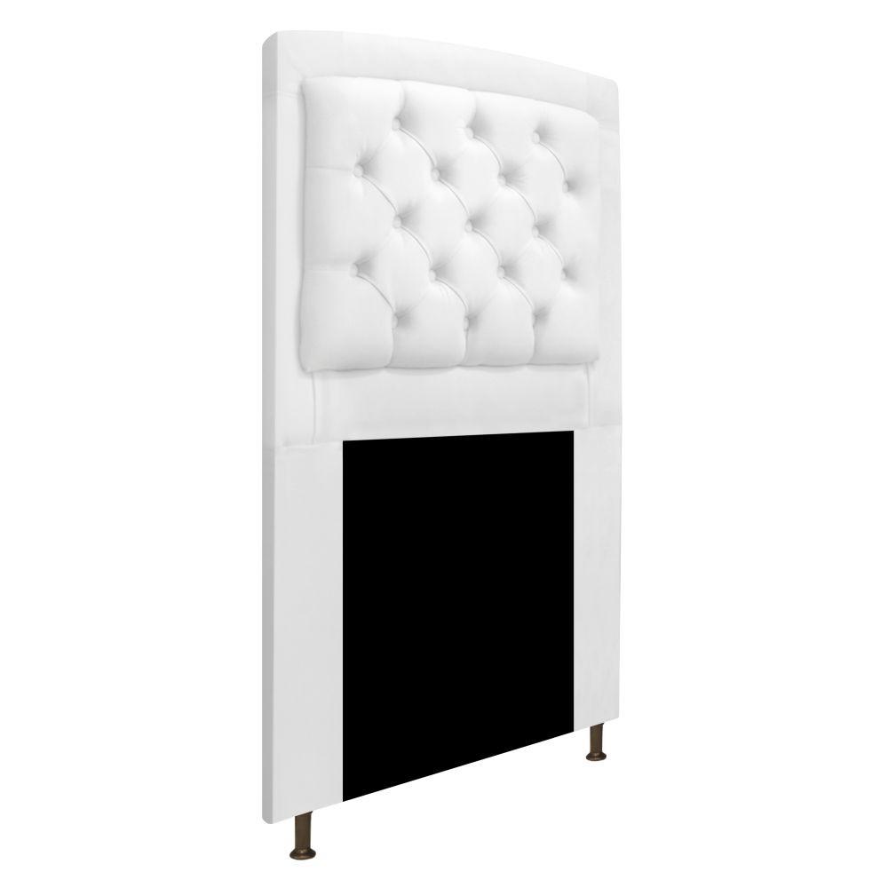Cabeceira Estofada Geovana 90 cm Solteiro Com Capitonê  Suede Branco - Doce Sonho Móveis