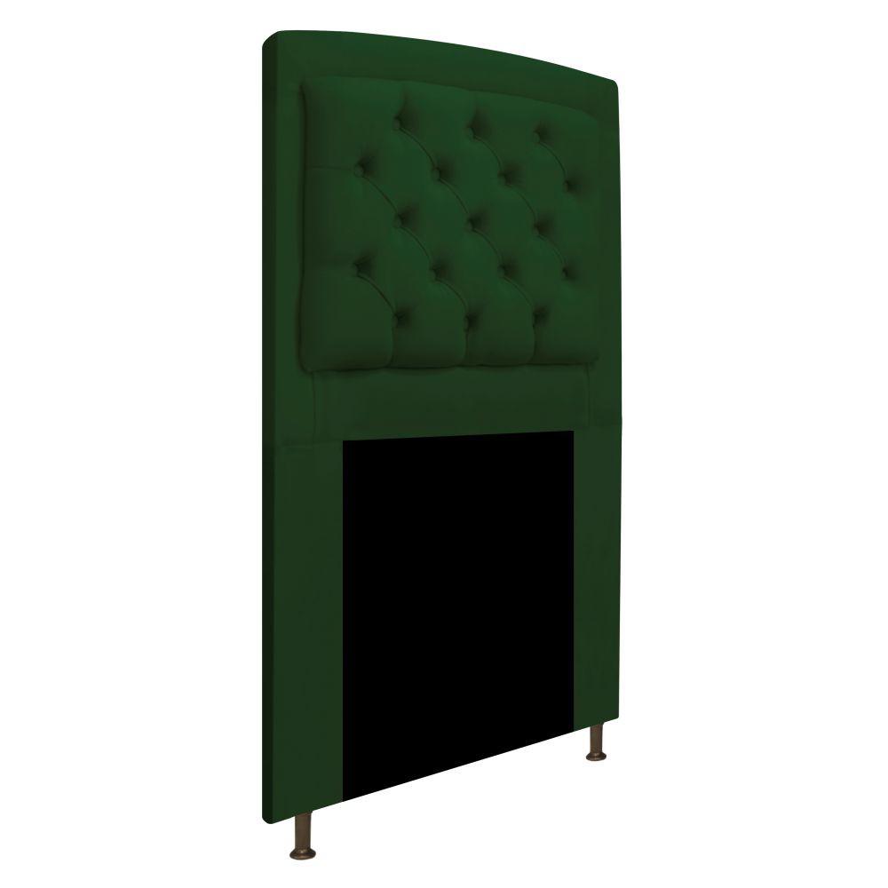 Cabeceira Estofada Geovana 90 cm Solteiro Com Capitonê  Suede Verde - Doce Sonho Móveis