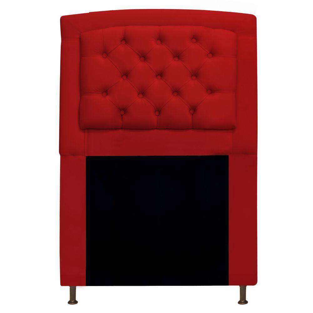Cabeceira Estofada Geovana 90 cm Solteiro Com Capitonê  Suede Vermelho - Doce Sonho Móveis