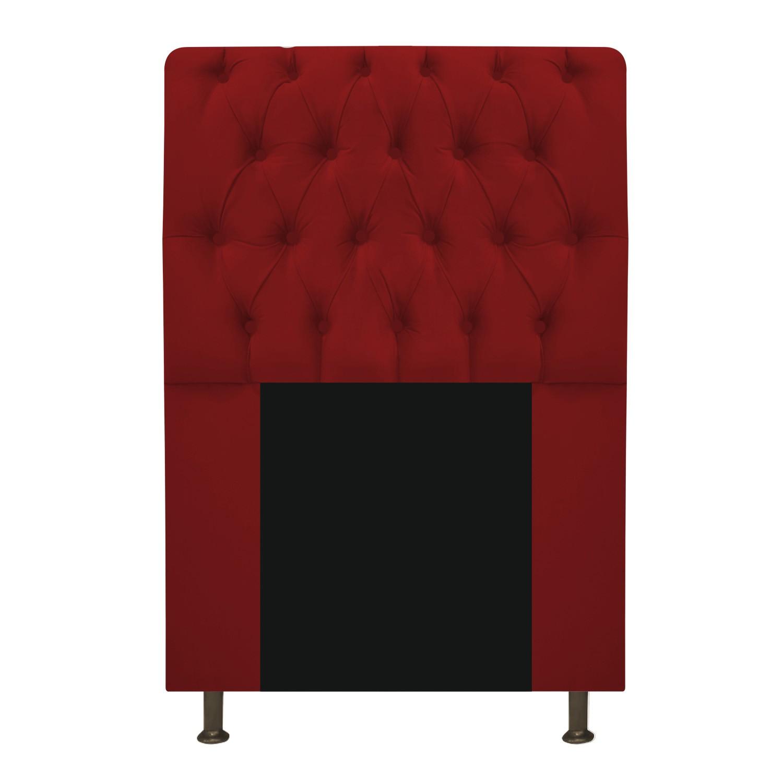 Cabeceira Estofada Lady 100 cm Solteiro Com Capitonê Suede Vermelho - Doce Sonho Móveis