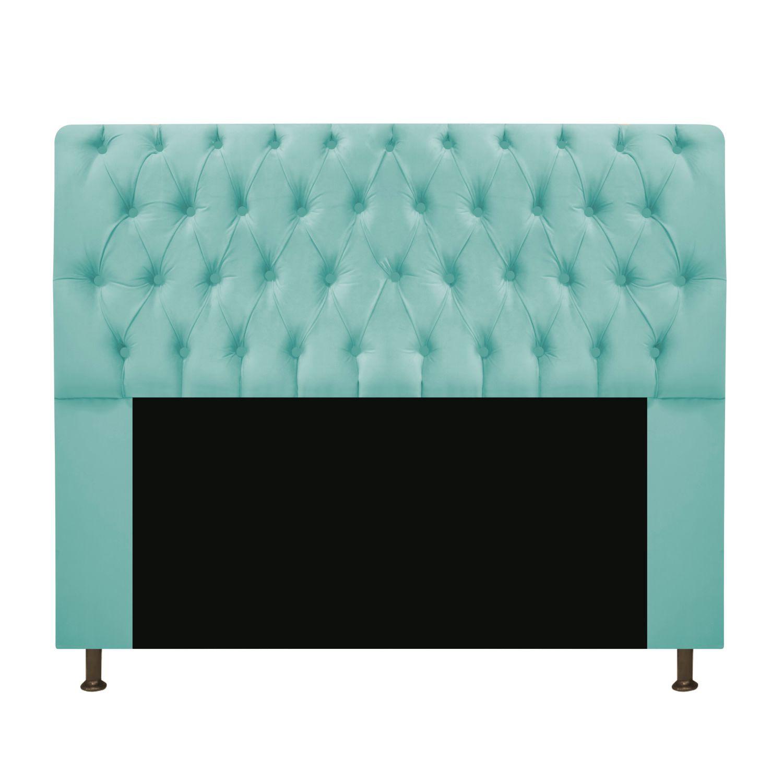Cabeceira Estofada Lady 140 cm Casal Com Capitonê  Suede Azul Tiffany - Doce Sonho Móveis