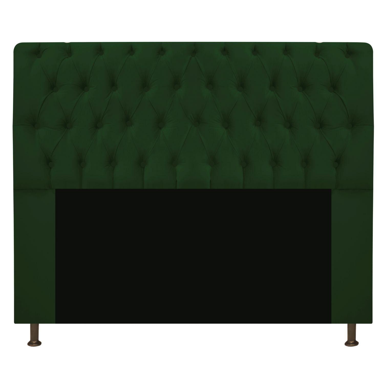 Cabeceira Estofada Lady 140 cm Casal Com Capitonê  Suede Verde - Doce Sonho Móveis