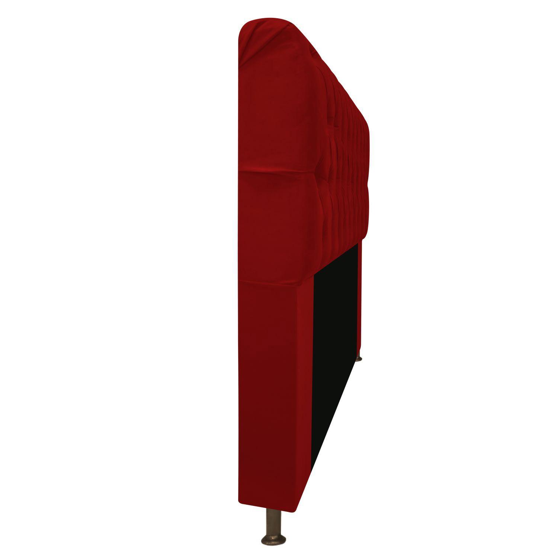 Cabeceira Estofada Lady 140 cm Casal Com Capitonê  Suede Vermelho - Doce Sonho Móveis