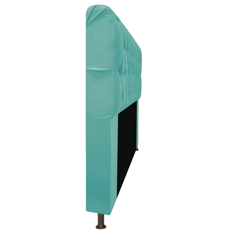 Cabeceira Estofada Lady 160 cm Queen Size Com Capitonê Suede Azul Tiffany - Doce Sonho Móveis
