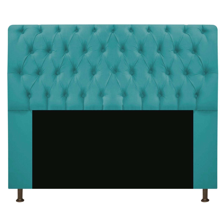 Cabeceira Estofada Lady 160 cm Queen Size Com Capitonê Suede Azul Turquesa - Doce Sonho Móveis