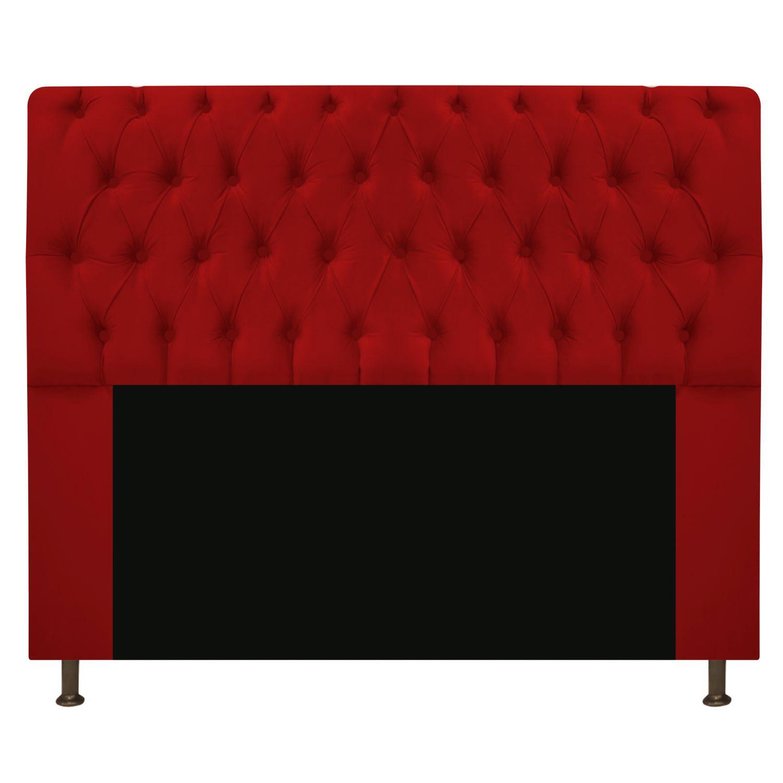 Cabeceira Estofada Lady 160 cm Queen Size Com Capitonê Suede Vermelho - Doce Sonho Móveis