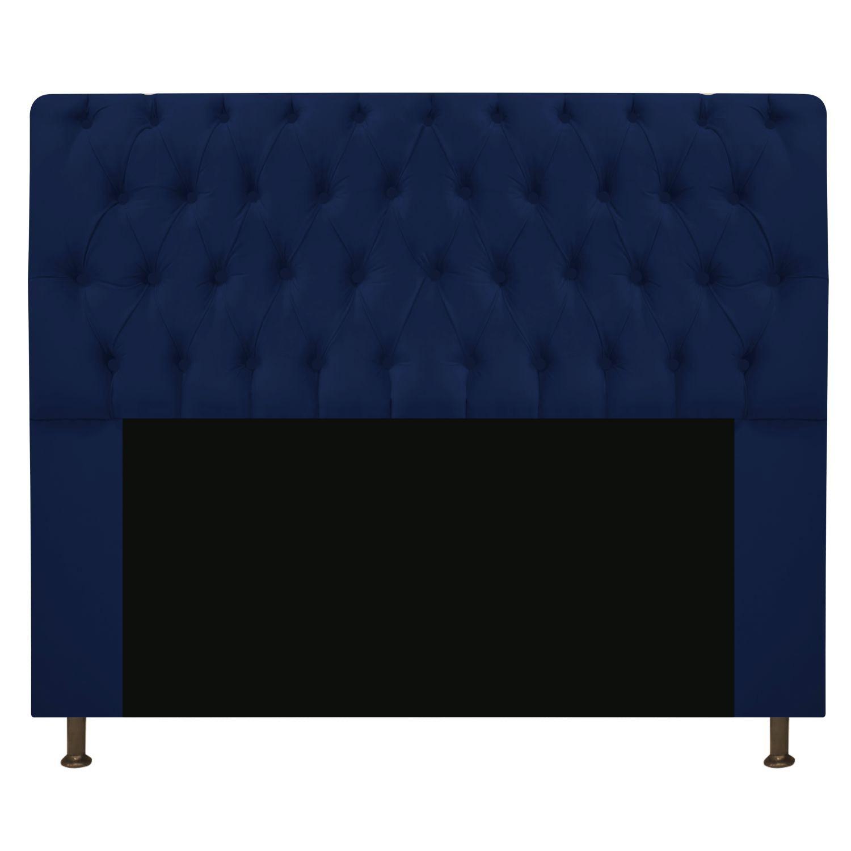 Cabeceira Estofada Lady 195 cm King Size Com Capitonê Suede Azul Marinho - Doce Sonho Móveis