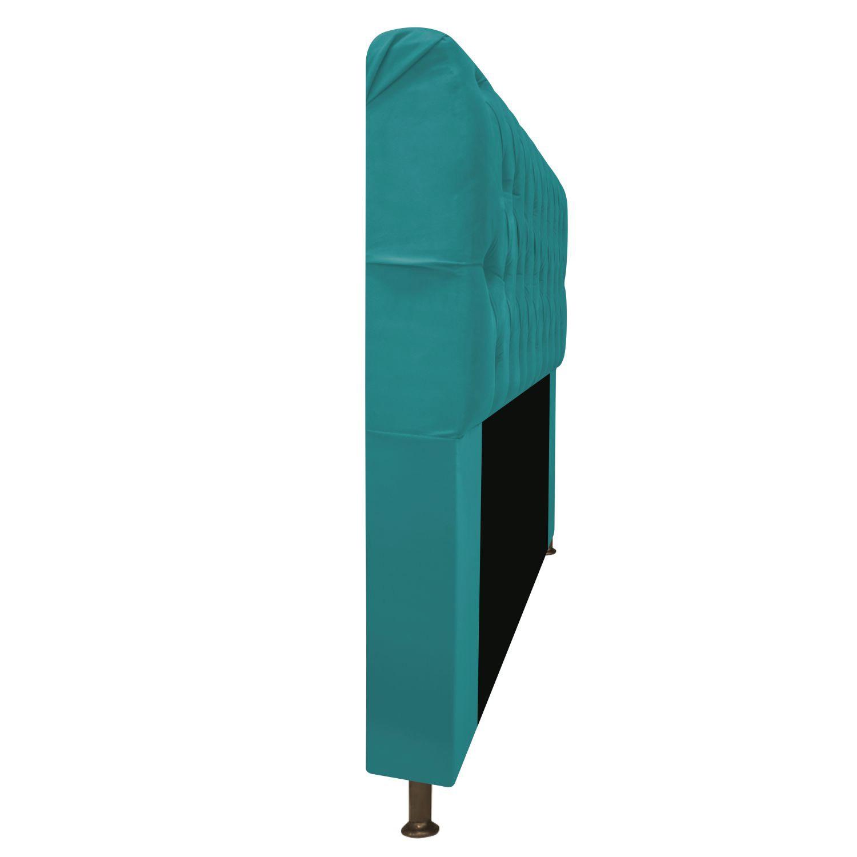 Cabeceira Estofada Lady 195 cm King Size Com Capitonê Suede Azul Turquesa - Doce Sonho Móveis