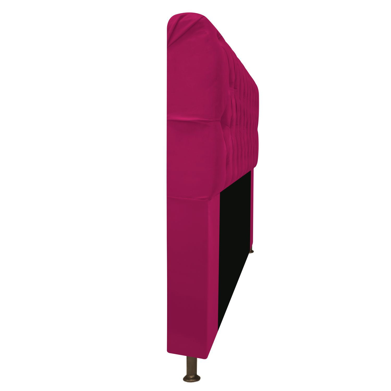 Cabeceira Estofada Lady 195 cm King Size Com Capitonê Suede Pink - Doce Sonho Móveis