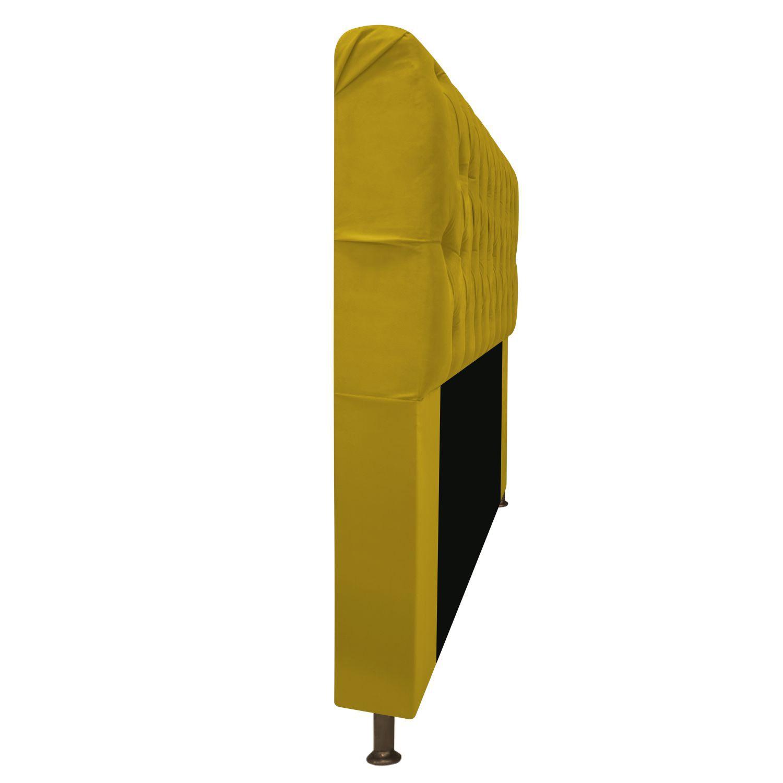 Cabeceira Estofada Lady 90 cm Solteiro Com Capitonê  Suede Amarelo - Doce Sonho Móveis