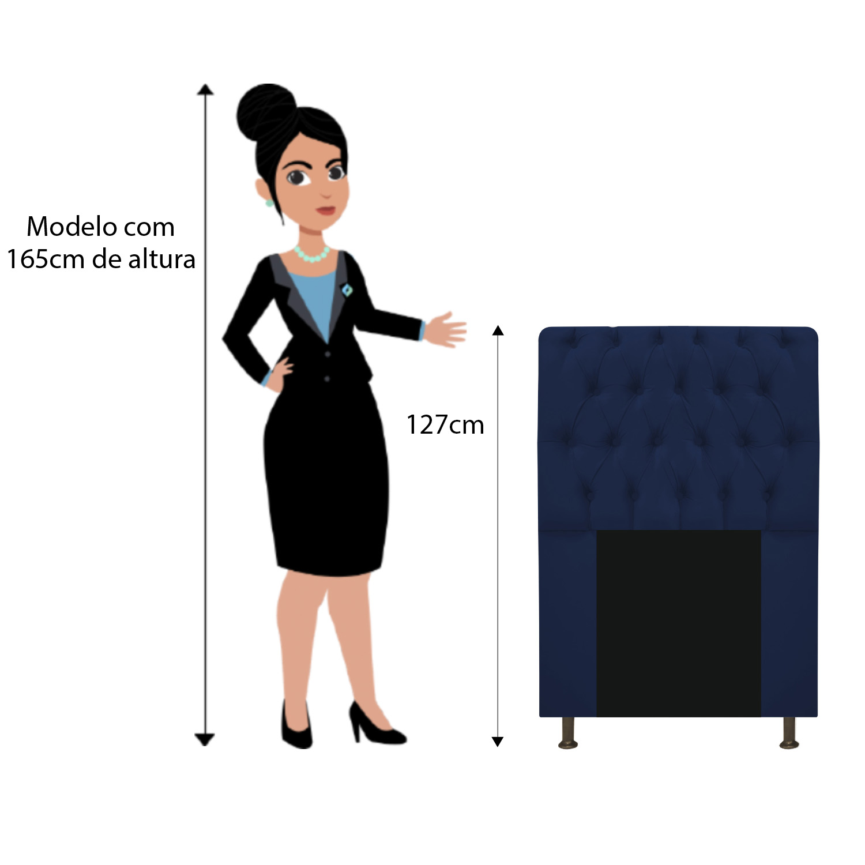 Cabeceira Estofada Lady 90 cm Solteiro Com Capitonê  Suede Azul Marinho - Doce Sonho Móveis